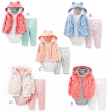 Carters 9 12 18 Months Baby Girl Cardigan Pant 3pc Set Outfit Clothes Fleece NWT
