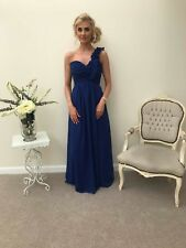 ROYAL BLUE 1 SHOULDER CHIFFON BRIDESMAID DRESS EVENING PROM LONG & SHORT 6-8