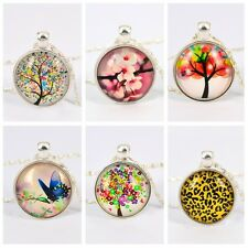 Fashion  Leopard Number Tree Butterfly Pendant Glass Cabochon Flower Necklace