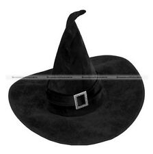 Black Velour Witch Hat Fancy Dress Green Black
