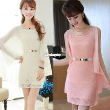 Mini Dress Lace Stitching O-neck Chiffon Women Cocktail Stretch Fashion ES9P