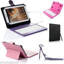 """For 8"""" inch Tablet Case Cover Stand Leather with USB Keyboard & Free Stylus NEW"""