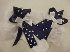DREAM GIRLS NAVY/WHITE BOW ROMANY FRILLY SOCKS ALL SIZES AVAILABLE