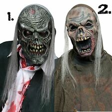 Latex Zombie Mask Hood Hair Gray Bloody Flesh Undead Halloween Costume Adult NEW