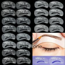 24 Types Eyebrow Grooming Stencil Kit Template Make Up Shaping Shaper DIY Tools