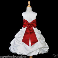 WHITE APPLE RED QUINCEANERA PAGEANT PARTY FLOWER GIRL DRESS 2 4 6 8 10 12 14 16