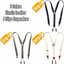 Mens Leather Elastic Suspenders Y-Back Cowhide Clip-On Belt Braces Adjustable