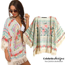 kw2 Celebrity Style Vintage Loose Fit Oriental Floral Fringed Kimono Wrap Jacket