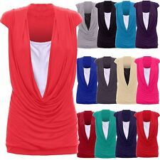 Ladies Womens Cowl Neck Contrast Insert Long Vest T-Shirt Top (S/M to 24/26)