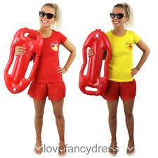 LADIES LIFEGUARD T-SHIRT 1980'S FANCY DRESS COSTUME YELLOW OR RED BEACH PARTY