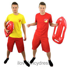MEN'S LIFEGUARD T-SHIRT YELLOW OR RED 1980'S FANCY DRESS COSTUME LADS HOLIDAY