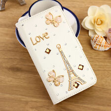 Gold Tower Leather Flip Bling Diamond Stand Wallet  Cover Case For  Sansung