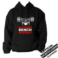 Official Eat Sleep Bench Repeat Hoodie S-XXL Gym, Weight Training BLK (3)