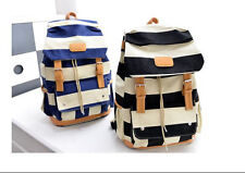 Black Blue Preppy Backpack Girls Double Root Canvas Striped Knapsack New FBBc21