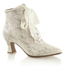 PLEASER Womens Champagne Satin Lace Old Fashioned Victorian Costume Boots Shoes