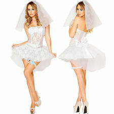 Genuine Roma Sexy Womens Adult Newlywed Bride Dress Wedding Halloween Costume