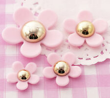 Cute Pink & Gold Kawaii Flower Cabochons Decoden Kitsch CHOOSE AMOUNT -UK SELLER