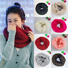 Fashion Women Men Winter Warm Infinity 1 Circle Cable Knit Cowl Neck Scarf Shawl