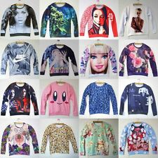 3D Digital Print Craze Flower/Geisha/Bean/Doll/Cartoon Sweater Jumper Sweatshirt