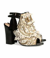 H&M Conscious Collection Exclusive Beige Embroidered Leather Sandals UK 7.5