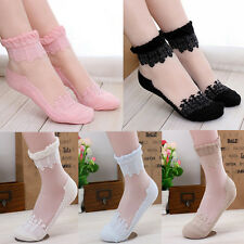 New Short Sock Crystal Transparent Lace Stockings Piles Of Socks for Women Girls