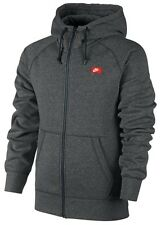 Nike New Mens Full Zip Hooded Fleece Jacket Top Dark Grey Logo Sweatshirt Hoodie