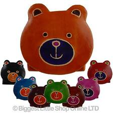 NEW Kids Children Girls Cute LEATHER Teddy Bear Coin Purse Handcrafted Toy Gift