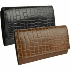 NEW Ladies LEATHER Embossed CROC LOOK Flap Over PURSE/WALLET by GiGi Gift Boxed