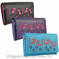 NEW Ladies Flap Over LEATHER PURSE WALLET by MALA GIFT Cat Poppy Collection Paws