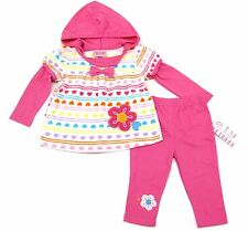 Carters 2 Pieces Pink Hooded GirlsFleece Set Size Infant 12-18-24 2T 4T Toddler