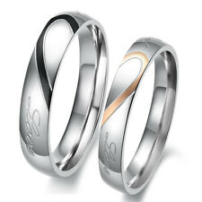 1Pc Heart Shape Matching Titanium Steel Lovers Promise Ring Couple Wedding Bands