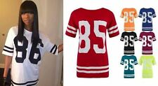 Women Celebrity Inspired Oversized Top Varsity 85 Print Casual Baseball T-Shirt