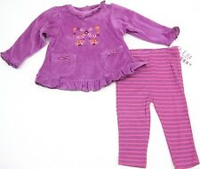 Carters Purple 2 Piece Velour Outfit Baby Girls Newborn Infant Size 3-24 Months