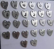 Stamped Stainless Steel Initial Heart Charms 11x10mm, Letters A-Z Script font