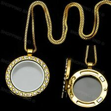 Living Memory Floating Charm Round Glass Locket Gold Pendant and Necklaces 20""