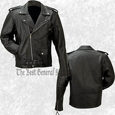 Mens Classic Black Solid Buffalo Leather Motorcycle Riding Jacket Biker-Style