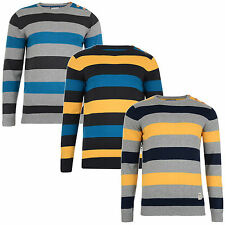New Crosshatch Men's Stripe Sweater Cotton Crew Knit Katter Pullover Jumper Top