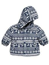 BNWT NEW BABY BOYS BLUE FAIRISLE WINTER COAT 0/3 3/6 6/9 CHRISTMAS PADDED JACKET