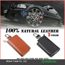 1 x Car Logo Genuine Leather Cover Car Key Case Key Rings Holder Key Wallet Bag