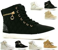 WOMENS LADIES ANKLE LACE UP GOLD ZIP HI-TOP FLAT SHOES BOOTS TRAINERS SIZE 3-8
