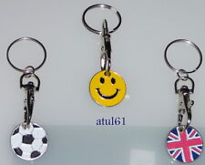 SHOPPING TROLLEY TOKEN KEYCHAIN £1 KEYRING LOCKER SHOPPING POUND SUPERMARKET NEW