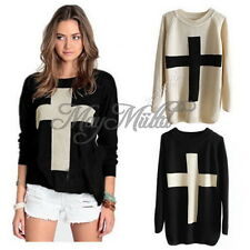 New Crew Blouse Jumper Cross Pattern Knit Sweater Outerwear Pullover Ladies O