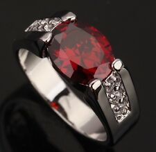 Fashion Jewelry Garnet Gemstones Silver Rings US#Size5 6 7 8 9 T0376