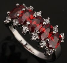 Fashion Jewelry Garnet Gemstones Silver Rings US#Size5 6 7 8 9 T0450
