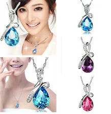 chain Necklace Pendant Rhinestone Crystal Waterdrop Wedding party Jewelry HS55