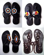 AFRICAN TRIBAL HANDMADE MAASAI WOMENS BLACK LEATHER BEADED SANDALS, BOHO BEACH