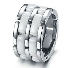 13mm White Ceramic & Titanium 5 Layers Mens High Tech Wedding Band Ring Jewelry