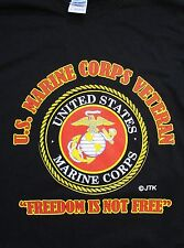 "U.S. MARINE CORPS  VETERAN "" FREEDOM IS NOT FREE"" MARINE EMBLEM BLACK SHIRT"