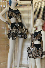 DANCE COSTUME LEOPARD SKIRT TOP BANDS AGE 5 TO ADULT UK8 JAZZ TAP MODERN LATIN