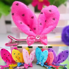 Lovely Kids Girls Plush Rabbit Ears Hairpin Bowknot Barrette Clip Accessories